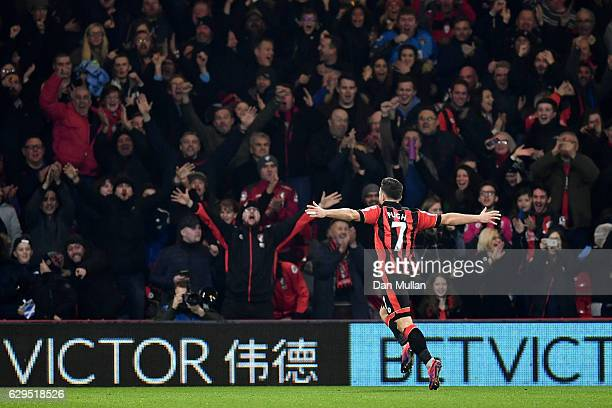 Marc Pugh of AFC Bournemouth celebrates after scoring the opening goal during the Premier League match between AFC Bournemouth and Leicester City at...