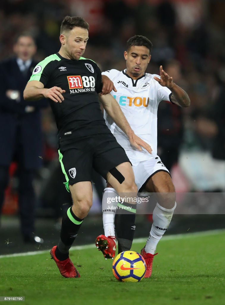 Marc Pugh of Bounemouth holds off Kyle Naughton of Swansea during the Premier League match between Swansea City and AFC Bournemouth at Liberty Stadium on November 25, 2017 in Swansea, Wales.