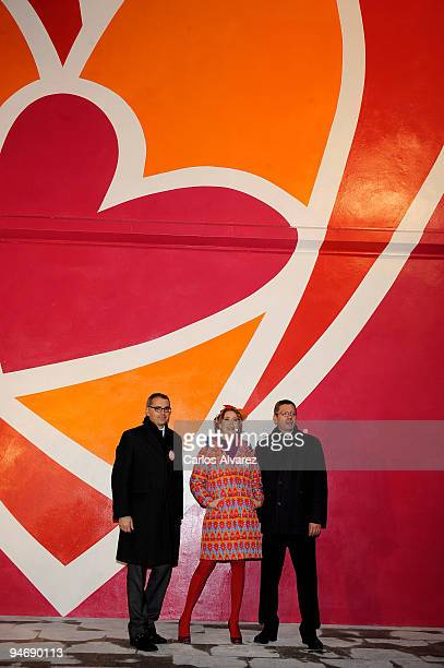 Marc Puig Spanish designer Agatha Ruiz de la Prada and Madrid Mayor Alberto Ruiz Gallardon during the presentation of the mural painted by designer...