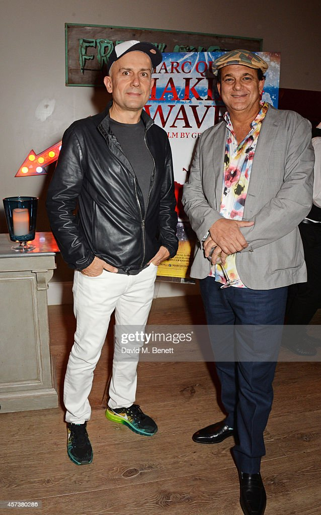 Marc Quinn (L) and director Gerry Fox attend the VIP Gala Screening of 'Marc Quinn: Making Waves' at the Ham Yard Hotel on October 17, 2014 in London, England.