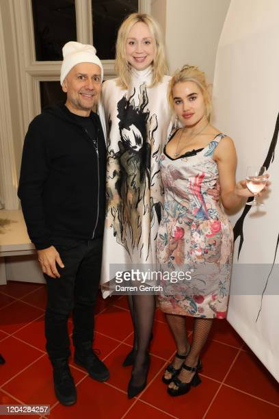 Marc Quinn Gwendoline Christie and Isamaya Ffrench attend the MATCHESFASHION X Giles Deacon X Peter Reed dinner on February 05 2020 in London England