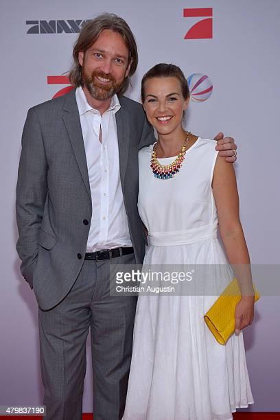Marc Rasmus and Annika Kipp attend the program presentation of the television channel ProSiebenSat1 at Hamburg Cruise Centre Altona on July 7 2015 in...