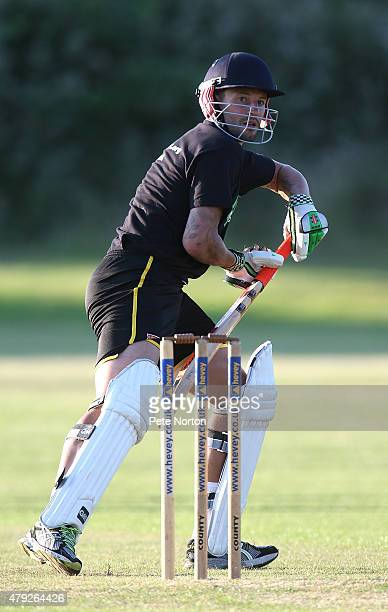 Marc Richards of Northampton Town looks to play a shot during a 20/20 Cricket Match between Bold Dragoon CC and Northampton Town FC in aid of the...