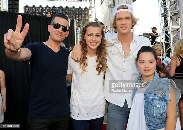 Marc Roberge of OAR Bree Bogucki Cody Simpson and Madison Tevlin open the 2015 Los Angeles Special Olympics World Games by performing the CocaCola...
