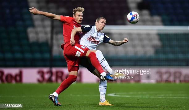 Marc Roberts of Birmingham City and Emil Ris Jakobsen of Preston North End challenge for the ball during the Sky Bet Championship match between...
