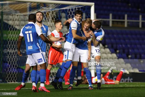 Marc Roberts of Birmingham City celebrates after scoring a goal to make it 1-0 during the Sky Bet Championship match between Birmingham City and...
