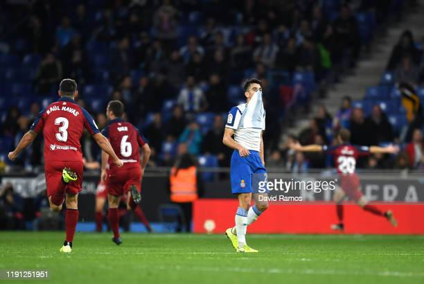 Marc Roca of Espanyol reacts after CA Osasuna score during the La Liga match between RCD Espanyol and CA Osasuna at RCDE Stadium on December 01 2019...