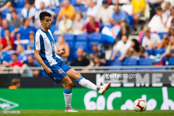 Marc Roca of RCD Espanyol plays the ball during the La Liga match between RCD Espanyol and Valencia CF at RCDE Stadium on August 26 2018 in Barcelona...
