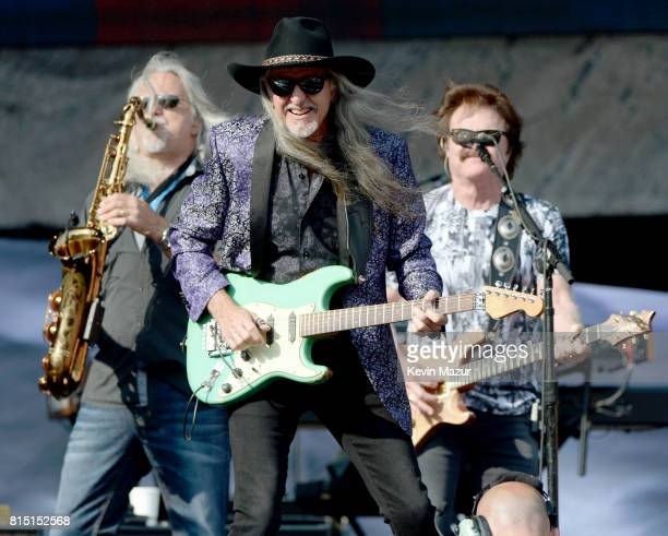 Marc Russo, Patrick Simmons and Tom Johnston of The Doobie Brothers perform onstage during The Classic West at Dodger Stadium on July 15, 2017 in Los...