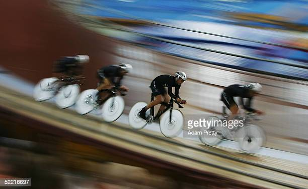 Marc Ryan, Gregory Henderson, Hayden Godfrey, Jason Allen of New Zealand on their way to Gold in the mens team pursuit during day two of the UCI...