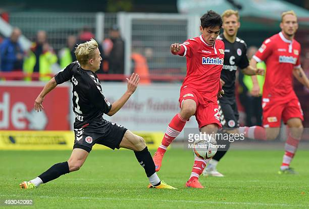 Marc Rzatkowski of FC StPauli and Eroll Zejnullahu of 1 FC Union Berlin during the game between Union Berlin and FC St Pauli on october 17 2015 in...