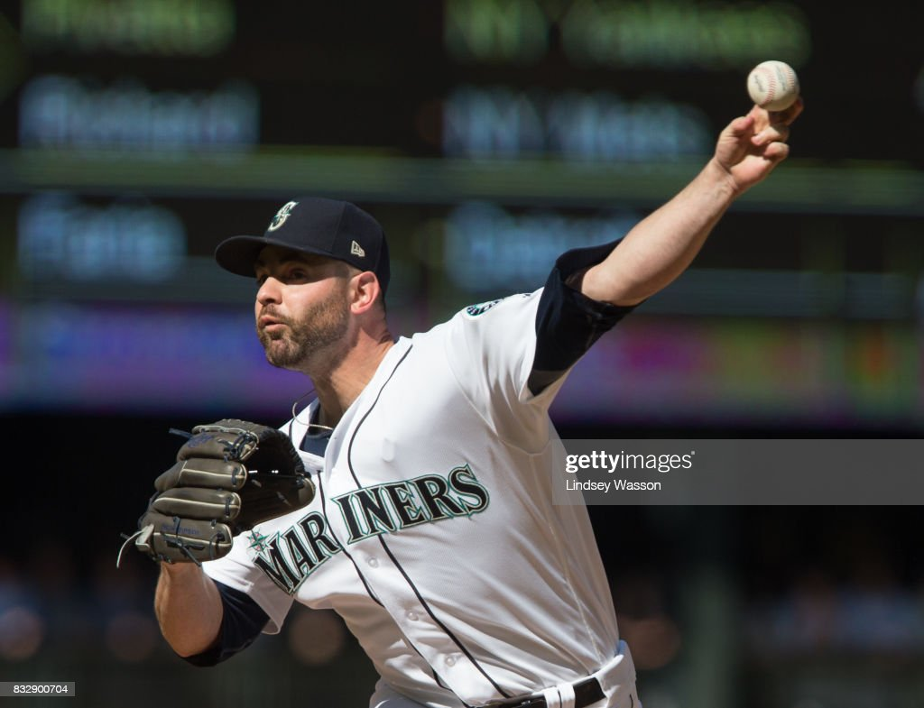 Marc Rzepczynski #25 of the Seattle Mariners pitches in the ninth inning to get the final out against the Baltimore Orioles at Safeco Field on August 16, 2017 in Seattle, Washington. The Seattle Mariners beat the Baltimore Orioles 7-6.