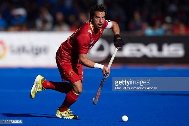 Marc Salles of Spain in action of Great Britain during the Men's FIH Field Hockey Pro League match between Spain and Great Britain at Polideportivo...