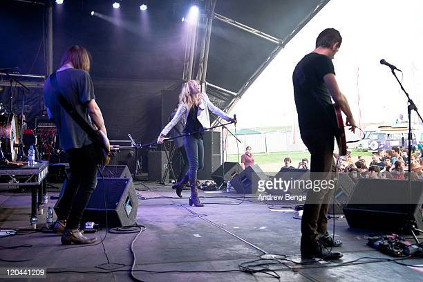 Marc Sallis Liela Moss and Luke Ford of The Duke Spirit performs on stage during the first day of YNot Festival 2011 on August 5 2011 in Matlock...