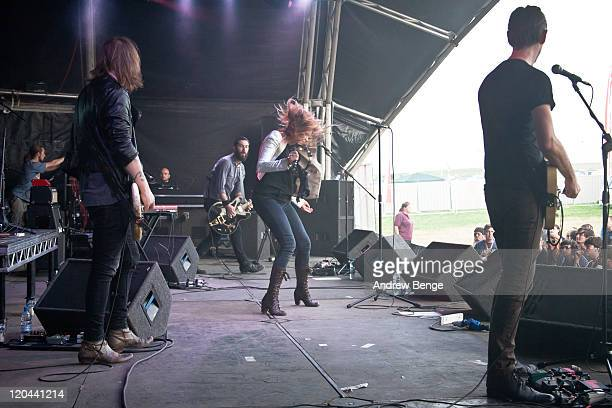 Marc Sallis Toby Butler Liela Moss and Luke Ford of The Duke Spirit performs on stage during the first day of YNot Festival 2011 on August 5 2011 in...