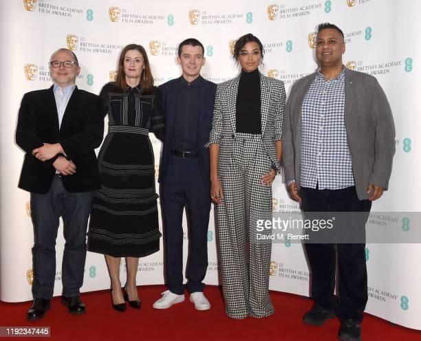 Marc Samuelson Amanda Berry Asa Butterfield Ella Balinska and Krishnendu Majumdar attend the BAFTA Film Awards Nominations Announcement 2020 photcall...