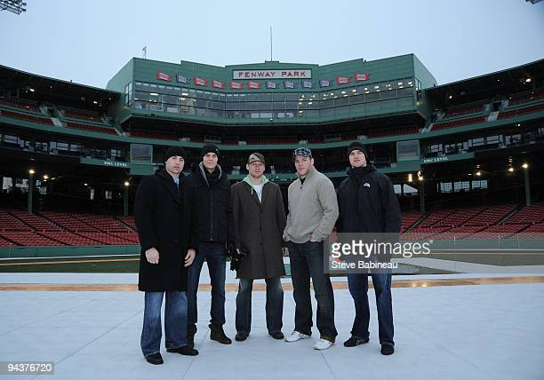 Marc Savard Tuukka Rask Michael Ryder Shawn Thornton and Daniel Paille of the Boston Bruins at Fenway Park during the build out of the ice rink for...