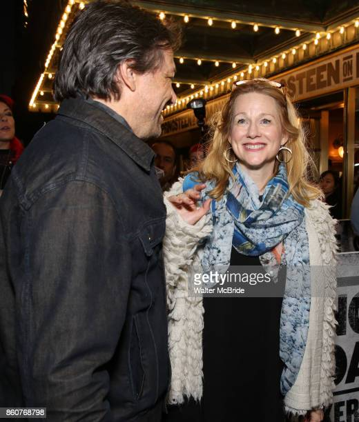 Marc Schauer and Laura Linney attend the opening night performance for 'Springsteen on Broadway' at The Walter Kerr Theatre on October 12 2017 in New...