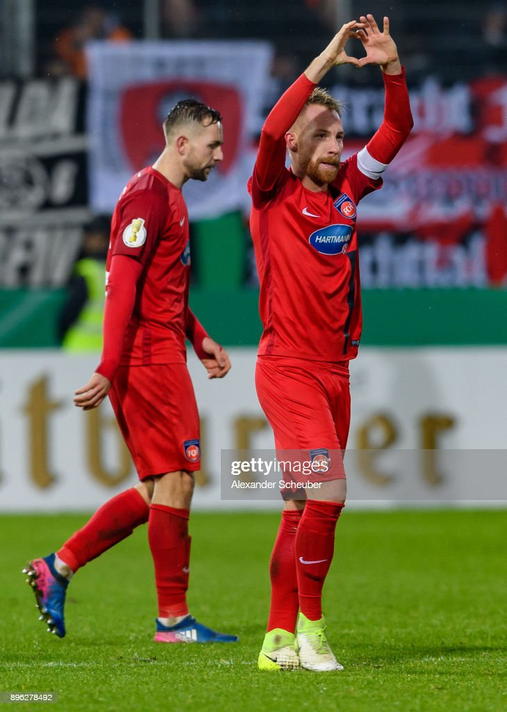 Marc Schnatterer of Heidenheim celebrates the first goal for his team during the DFB Cup match between 1. FC Heidenheim and Eintracht Frankfurt at Voith-Arena on December 20, 2017 in Heidenheim, Germany.