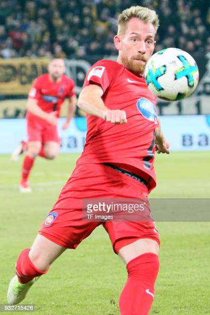 Marc Schnatterer of Heidenheim controls the ball during the Second Bundesliga match between SG Dynamo Dresden and 1 FC Heidenheim 1846 at DDVStadion...