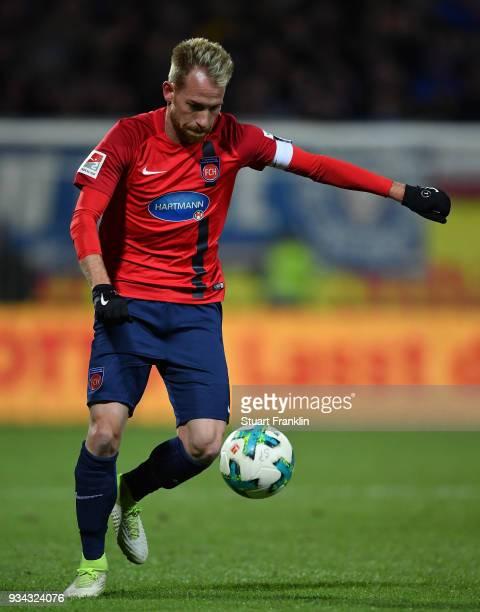 Marc Schnatterer of Heidenheim in action during the Second Bundesliga match between Holstein Kiel and 1 FC Heidenheim 1846 at HolsteinStadion on...