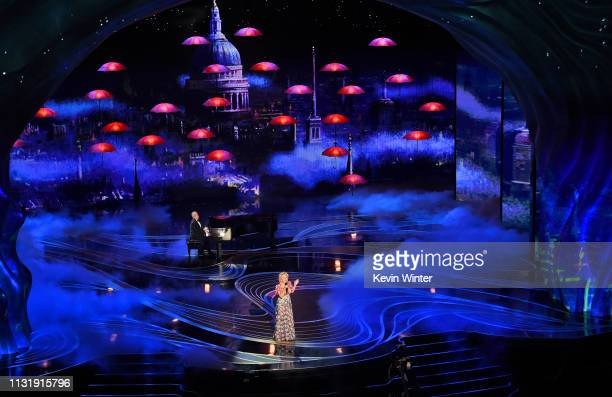 Marc Shaiman and Bette Midler perform onstage during the 91st Annual Academy Awards at Dolby Theatre on February 24 2019 in Hollywood California