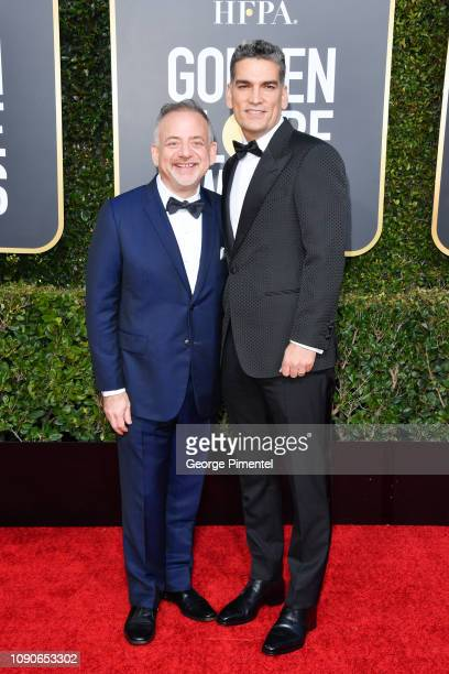 Marc Shaiman and Louis Mirabal attend the 76th Annual Golden Globe Awards held at The Beverly Hilton Hotel on January 06 2019 in Beverly Hills...