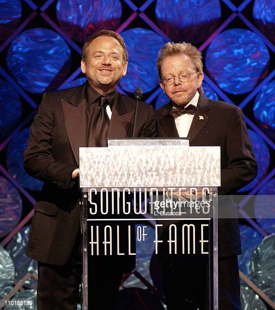 Marc Shaiman and Paul Williams during 34th Annual Songwriters Hall Of Fame Awards Show at Marriott Marquis in New York City New York United States