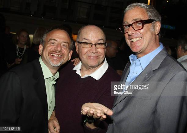 Marc Shaiman Jack O'Brien and Scott Wittman pose at the Patti LuPone A Memoir Book Launch Party at Vivian Beaumont Theatre at Lincoln Center on...