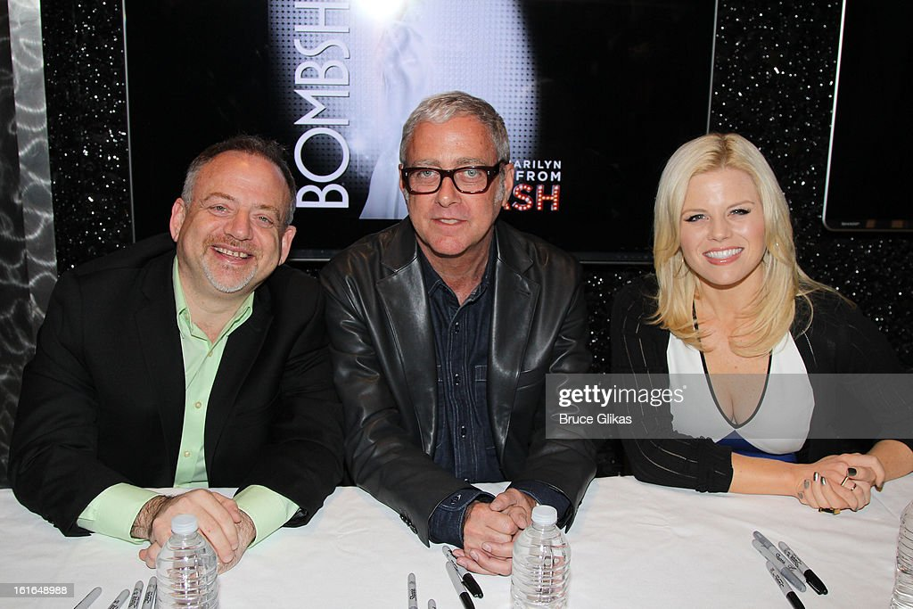 Marc Shaiman, Scott Wittman and Megan Hilty attend The 'Bombshell: The New Marilyn Musical from Smash Cast Recording' CD signing at NBC Experience Store on February 13, 2013 in New York City.