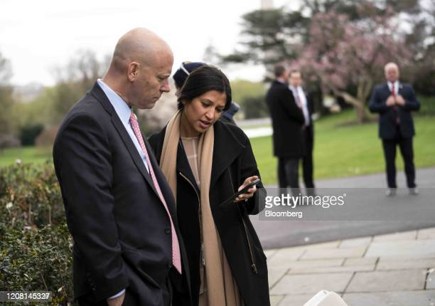 Marc Short chief of staff to Vice President Mike Pence left talks to Katie Miller Pences press secretary during a Fox News virtual town hall in the...