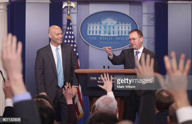Marc Short Director of Legislative Affairs and Mick Mulvaney Director of the Office of Management and Budget speak to reporter about the possibility...
