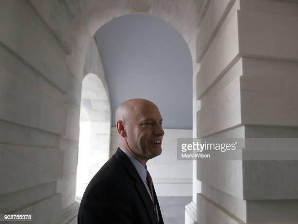 Marc Short Director of Legislative Affairs for the White House arrives at the US Capitol on January 22 2018 in Washington DC A bipartisan group of US...