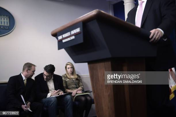 Marc Short Director of Legislative Affairs speaks during a briefing at the James S Brady Press Briefing Room of the White House on January 20 2018 in...