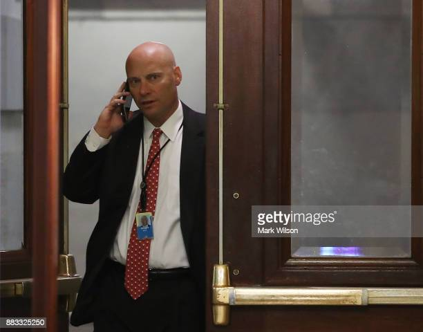 Marc Short director of White House Legislative Affairs walks into the US Capitol building November 30 2017 in Washington DC Senate Republicans are...
