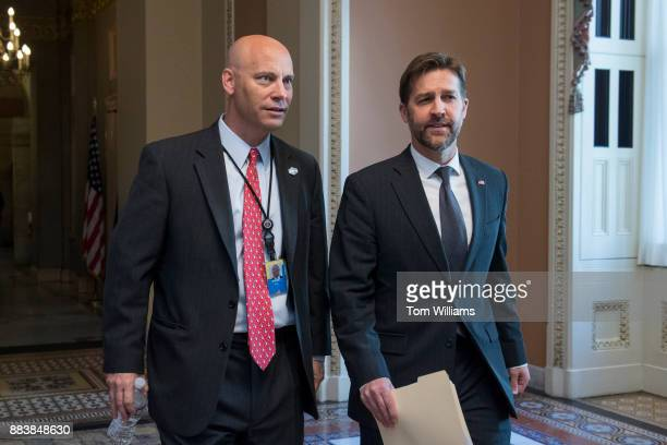 Marc Short left White House director of legislative affairs and Sen Ben Sasse RNeb are seen in the Capitol before Senate Majority Leader Mitch...