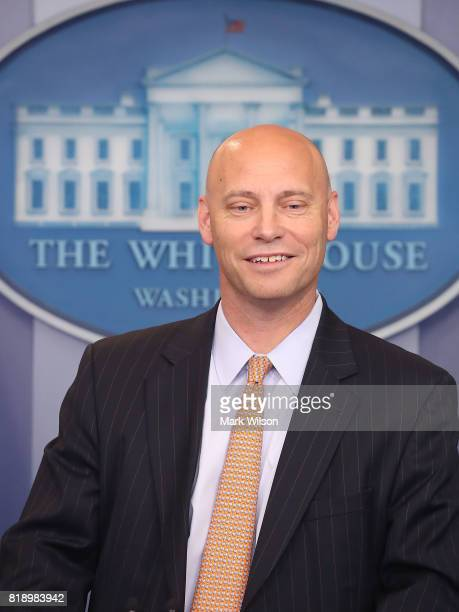 Marc Short White House director of legislative affairs briefs the media on President Donald Trump's meeting with Senate Republicans earlier in the...