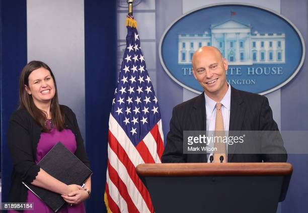 Marc Short White House director of legislative affairs briefs the media on President Donald Trump's meeting with Senate Republicans during White...