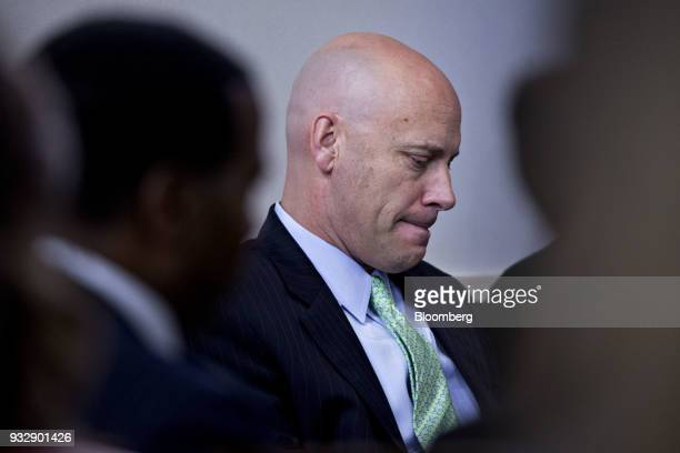 Marc Short White House director of legislative affairs listens during a press briefing in Washington DC US on Friday March 16 2018 The president...