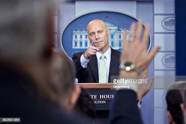 Marc Short White House director of legislative affairs takes a question during a press briefing in Washington DC US on Friday March 16 2018 The...