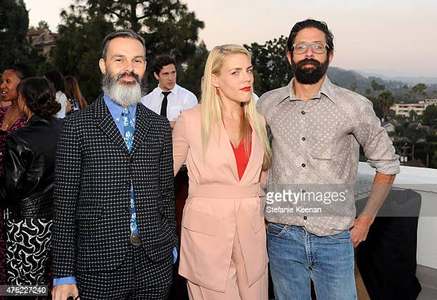 Marc Silverstein actress Busy Philipps and Founder of The Elder Statesman Greg Chait attend a dinner to celebrate Glamour's June Success Issue hosted...