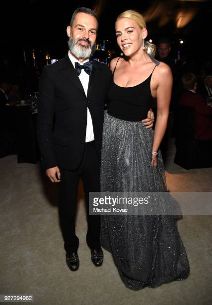 Marc Silverstein and Busy Philipps attends the 26th annual Elton John AIDS Foundation Academy Awards Viewing Party sponsored by Bulgari celebrating...