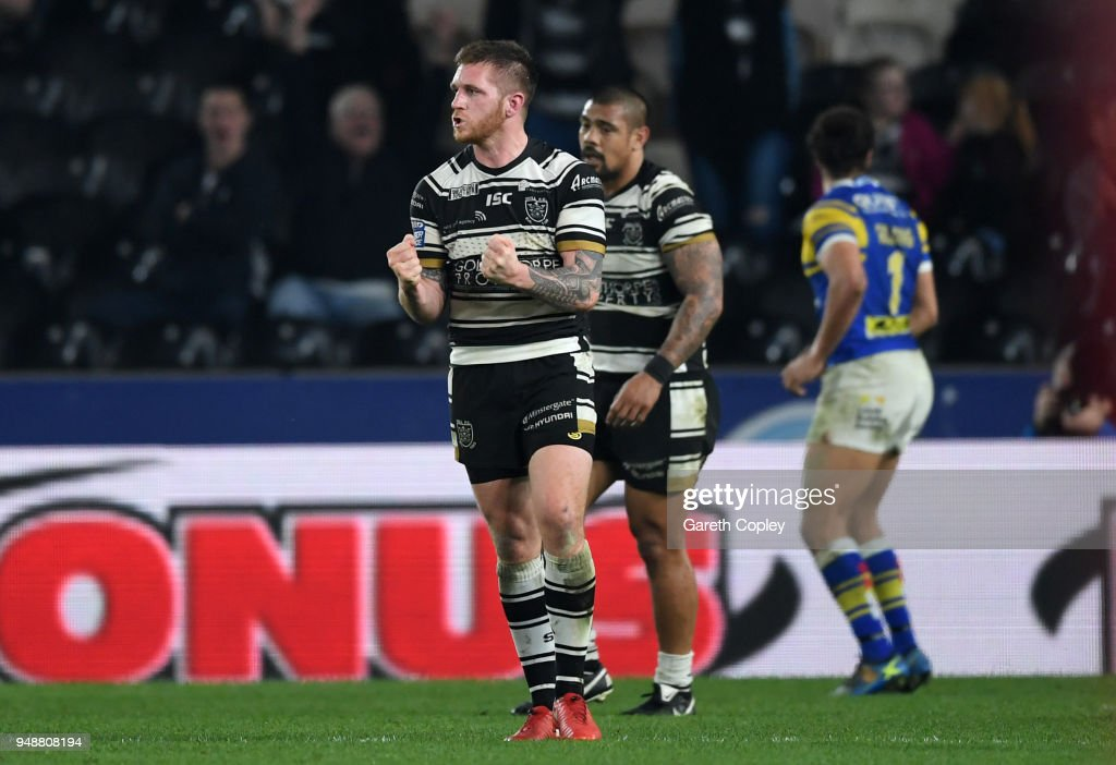 Marc Sneyd of Hull FC celebrates kicking the match winnng drop goal during the BetFred Super League match between Hull FC and Leeds Rhinos at KCOM Stadium on April 19, 2018 in Hull, England.