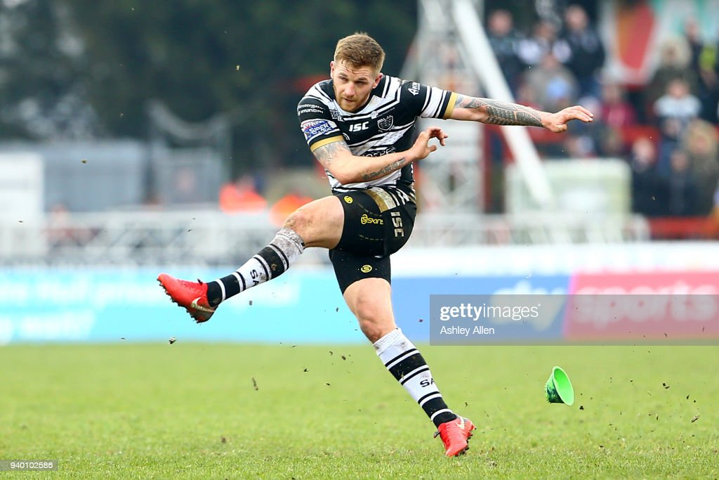 Marc Sneyd of Hull FC kicks a conversion during the BetFred Super League match between Hull KR and Hull FC at KCOM Craven Park on March 30, 2018 in Hull, England.