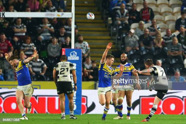 Marc Sneyd of Hull FC kicks the winning point during the BetFred Super League match between Hull FC and Leeds Rhinos at the KCOM Stadium on April 19...