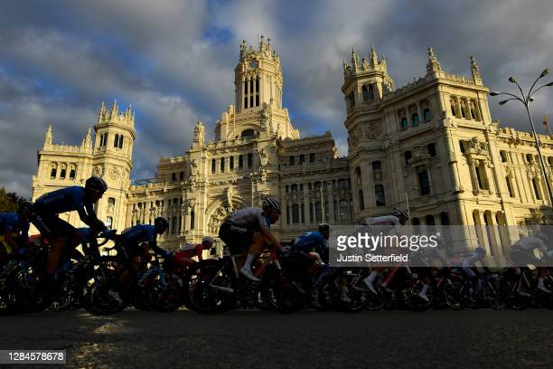 Marc Soler Gimenez of Spain and Movistar Team / Alejandro Valverde Belmonte of Spain and Movistar Team / Michael Storer of Australia and Team Sunweb...
