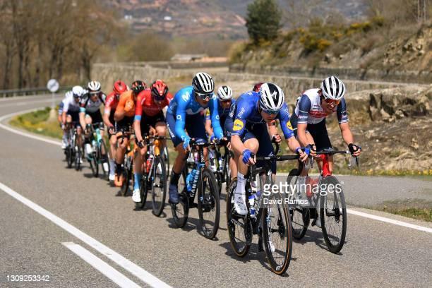 Marc Soler Gimenez of Spain and Movistar Team, Rémi Cavagna of France and Team Deceuninck - Quick-Step, Alexander Kamp Egested of Denmark and Team...