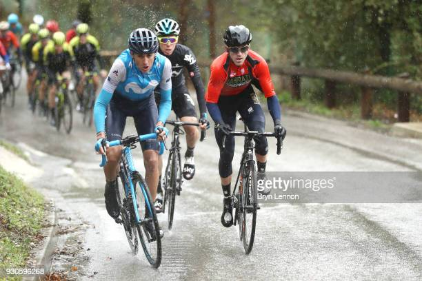 Marc Soler of Spain and Movistar Team, Gorka Izagirre of Spain and Bahrain-Merida, David De La Cruz of Spain and Team Sky on March 11, 2018 in Nice,...