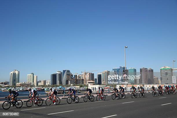 Marc Soler of Spain and Movistar Team leads the chasing peloton during the Business Bay Stage Four of the Tour of Dubai on February 6 2016 in Dubai...