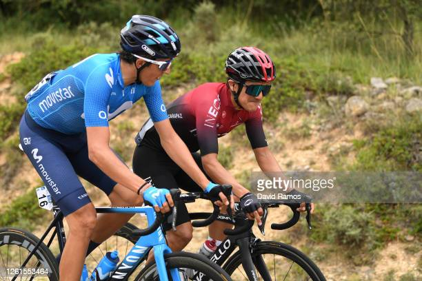 Marc Soler of Spain and Movistar Team / Richard Carapaz of Ecuador and Team INEOS / during the 42nd Vuelta a Burgos 2020, Stage 1 a 157km stage from...